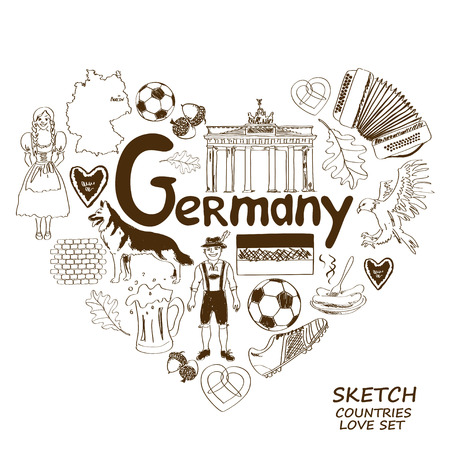 Sketch collection of German symbols. Heart shape concept. Travel background Vector