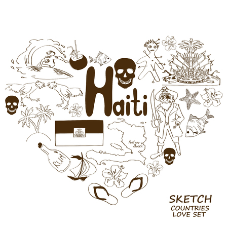 Sketch collection of Haitian symbols. Heart shape concept. Travel background Vector