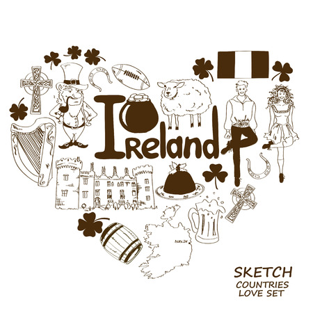 irish symbols: Colorful sketch collection of Irish symbols. Heart shape concept. Travel background Illustration