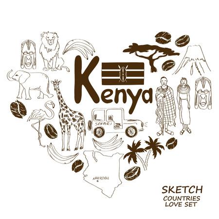 kenya: Sketch collection of Kenyan symbols. Heart shape concept. Travel background