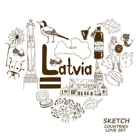 dom: Sketch collection of Latvian symbols. Heart shape concept. Travel background