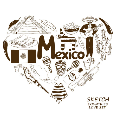 pinata: Sketch collection of Mexican symbols. Heart shape concept. Travel background