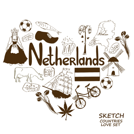 Sketch collection of Netherlands symbols. Heart shape concept. Travel background Vector