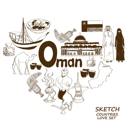 oman background: Sketch collection of Oman symbols. Heart shape concept. Travel background Illustration
