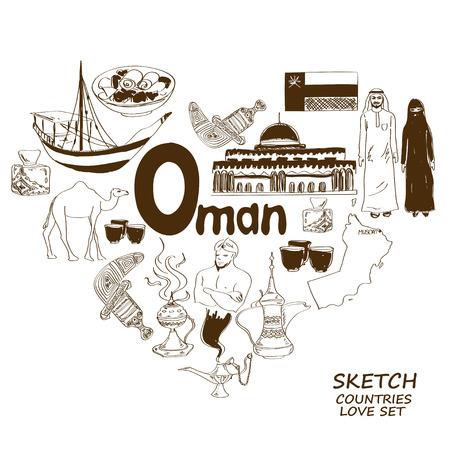incense: Sketch collection of Oman symbols. Heart shape concept. Travel background Illustration