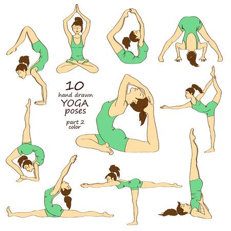 Set van geïsoleerde hand getekende kleurrijke schets yoga houdingen. Deel twee