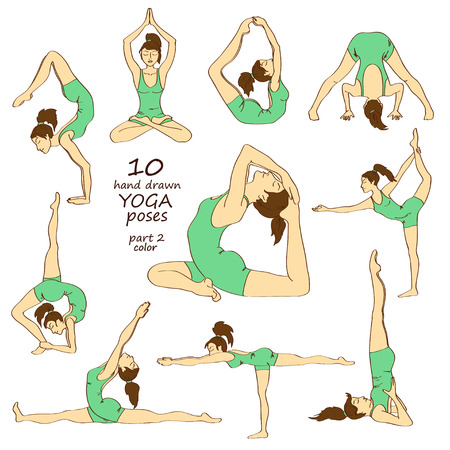 Set of isolated hand drawn colorful sketch yoga poses. Part two Illustration