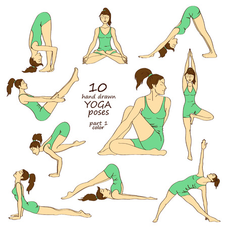 Set of isolated hand drawn colorful sketch yoga poses. Part one