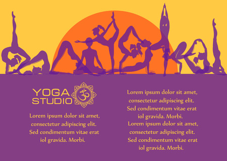 yoga meditation: Vector yoga concept. Flat colorful set of yoga poses at sunrise