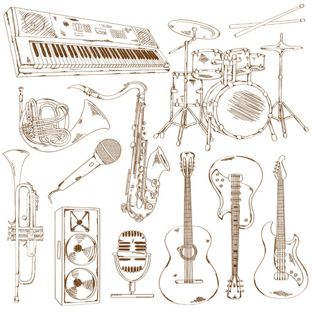drum set: Hand drawn set of isolated sketch musical instruments Illustration