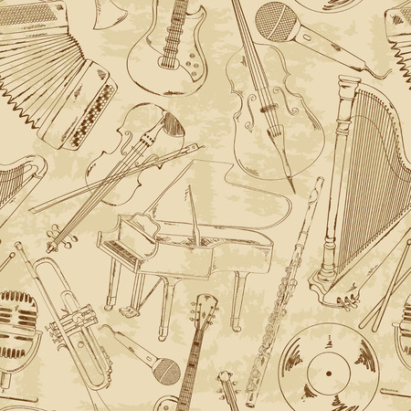 Retro seamless pattern of sketch musical instruments Vector