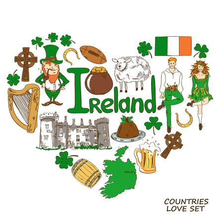 アイルランドのシンボルのカラフルなスケッチ集。ハート形のコンセプトです。旅行の背景