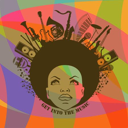 カラフルな幾何学的な背景の楽器を持つアフリカ系アメリカ人の若い女性の肖像画のイラスト。音楽の創造的なコンセプト