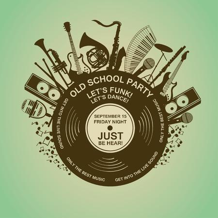 악기와 비닐 레코드와 그림입니다. 음악 개념. 뮤지컬 창작 초대
