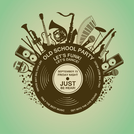 funk: Illustration with musical instruments and vinyl record. Music concept. Musical creative invitation