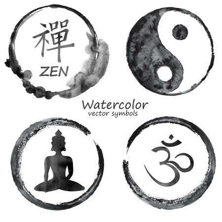 ? ?  ? �silence: Vector acuarela conjunto de yoga y etiqueta budismo iconos. OM, Zen, Buda y de Yin Yang firma concepto de dise�o Vectores