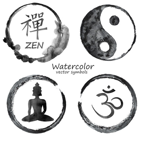 wellness background: Vector watercolor set of yoga and buddhism label icons. Om, Zen, Buddha and Yin Yang signs design concept
