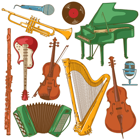 Hand drawn set of isolated colorful musical instruments Vector