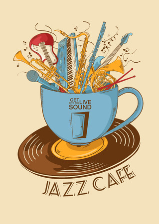 Colorful illustration with musical instruments in a cup and vinyl record. Jazz cafe concept. Musical creative invitation, label or menu. Иллюстрация