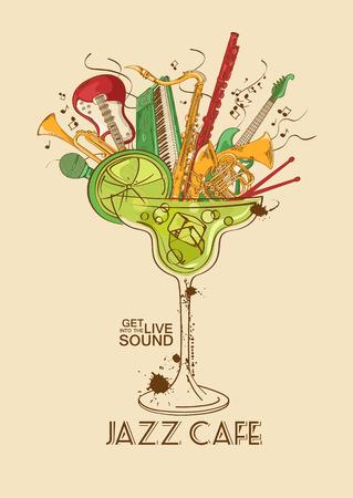 칵테일 잔에 악기와 다채로운 그림. 재즈 카페 개념입니다. 뮤지컬 창작 초대, 레이블 또는 메뉴 일러스트