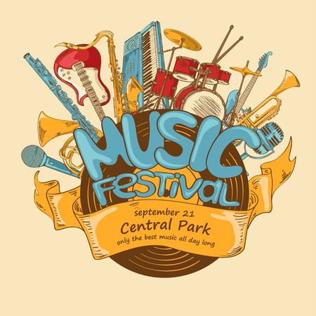 festival: Illustration with musical instruments and vinyl record. Music festival concept. Musical creative invitation