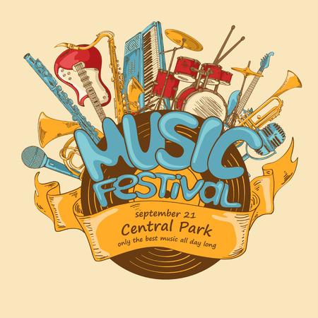 orquesta: Ilustración con instrumentos musicales y discos de vinilo. Música concepto festival. Invitación creativa Musical