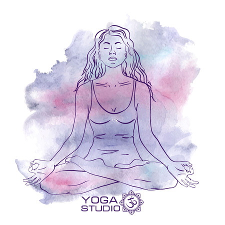 Vector watercolor background with woman sketch silhouette sitting in the lotus yoga pose