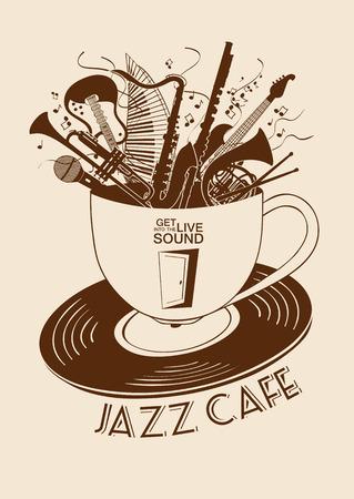 Illustratie met muziekinstrumenten in een kopje en vinyl record. Jazz Cafe concept. Muzikale creatieve uitnodiging, label of menu.