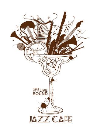 칵테일 잔에 악기와 그림입니다. 재즈 카페 개념. 뮤지컬 창작 초대, 레이블이나 메뉴 일러스트