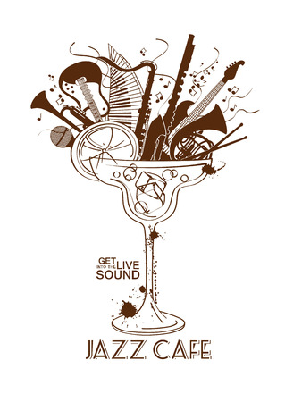 Illustratie met muziekinstrumenten in een cocktailglas. Jazz cafe concept. Musical creatieve uitnodiging, label of het menu