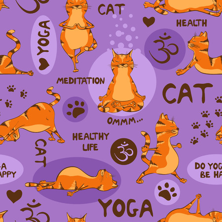 Funny seamless pattern with cartoon red cat doing yoga position. Healthy lifestyle concept