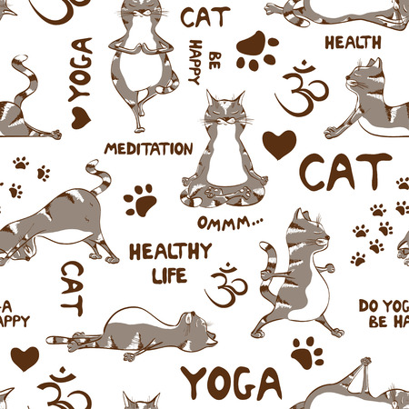 Funny seamless pattern with cartoon gray cat doing yoga position. Healthy lifestyle concept