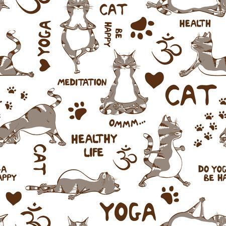 Grappige naadloze patroon met cartoon grijze kat doet yoga-positie. Gezonde leefstijl concept Stock Illustratie