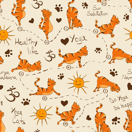Funny seamless pattern with cartoon red cat doing yoga position of Surya Namaskara. Healthy lifestyle concept