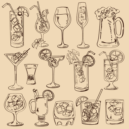 Set of isolated sketch cocktails, beer and wine