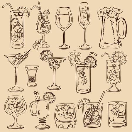 cocteles: Conjunto de aislados boceto cócteles, cerveza y vino