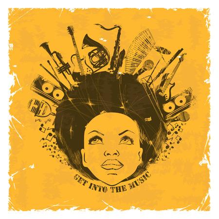 Ilustración de retrato de mujer joven afroamericano con instrumentos musicales sobre un fondo retro. Concepto creativo Música