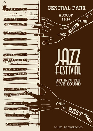 poster art: Sketch illustration of human hands playing the piano. Musical creative invitation.