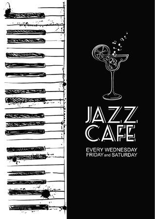 teclado: Ilustraci�n Bosquejo blanco y negro del piano. Invitaci�n creativa musical. Concepto de caf� de jazz.