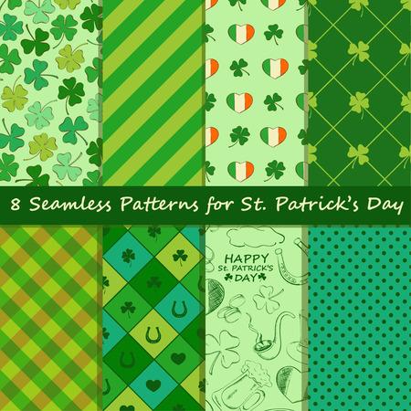 leprechaun background: Set of St. Patricks Day seamless pattern. Scrapbook elements. All patterns in swatch menu. Illustration