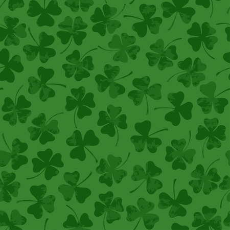 Green retro St. Patricks day seamless pattern with clover Vector