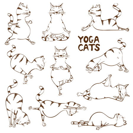 Set of isolated funny sketch cats icons doing yoga position Vettoriali