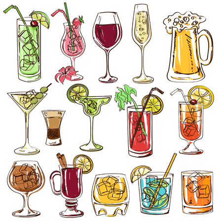 beer party: Set of isolated colorful sketch cocktails, beer and wine