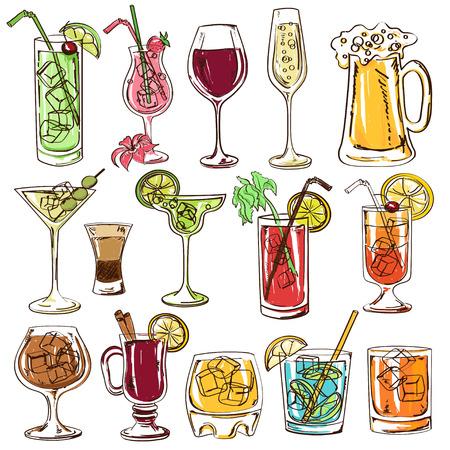 Zestaw izolowanych kolorowe koktajle szkicu, piwa i wina