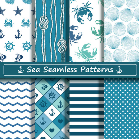 Set of blue and white sea seamless patterns. Scrapbook design elements. All patterns are included in swatch menu. Illusztráció