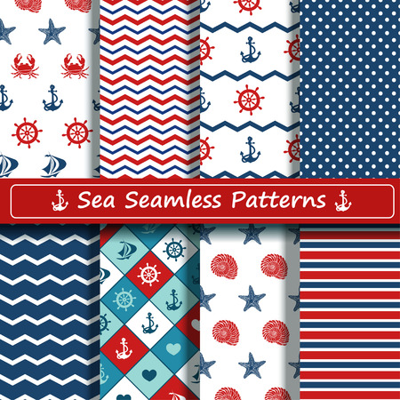 Set van blauwe, rode en witte zee naadloze patronen. Scrapbook design elementen. Alle patronen zijn opgenomen in staal menu. Stock Illustratie