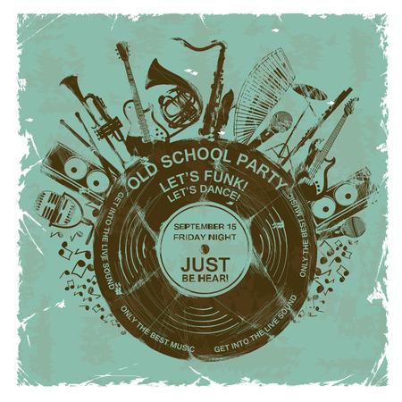 Retro illustratie met muziekinstrumenten en vinyl record. Muziek concept. Muzikale creatieve uitnodiging Stock Illustratie