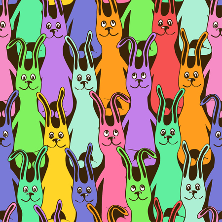herd: Colorful seamless pattern with herd of funny cute bunnies