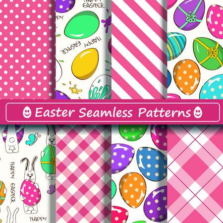 Set of pink and white Easter seamless patterns. Scrapbook design elements. All patterns are included in swatch menu. Vector
