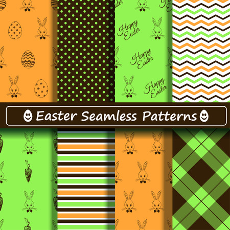 Set of black, green and orange Easter seamless patterns. Scrapbook design elements. All patterns are included in swatch menu. Vector